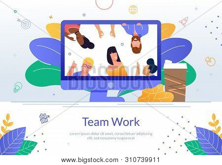 Professionals Teamwork Flat Vector Banner With Multinational Female And Male Employees On Computer M