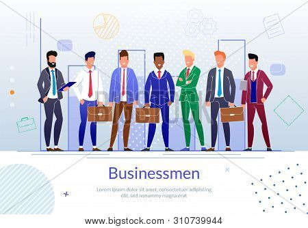 Modern Businessmen Flat Vector Banner Template With Successful Entrepreneurs, Business Leader, Compa