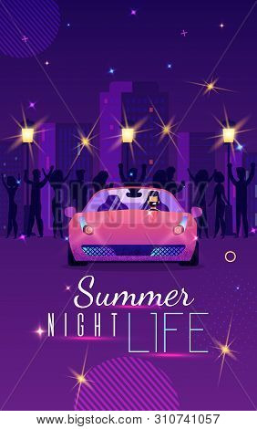 Advertising Flyer Is Written Summer Night Life. Flat Banner Bearded Guy Sitting In Car And Laughs. B