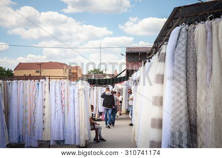 Subotica, Serbia - July 1, 2018: Crowd Packing On The Subotica Market, Also Referred As Buvlak, On T