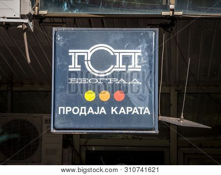 Belgrade, Serbia - September 9, 2018: Gsp Beograd Logo In Front Of Their Ticket Selling Booth. Gsp B