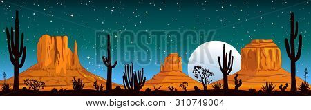 Night Landscape Of The Arizona Desert. Landscape Rocky Desert. Mountains And Cactus. Monument Valley