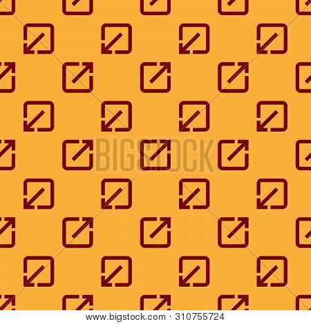 Red Open In New Window Icon Isolated Seamless Pattern On Brown Background. Open Another Tab Button S