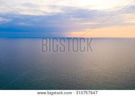 Simply Pastel Minimal And Relax Horizontal Line Between Peaceful Sea And Sky.