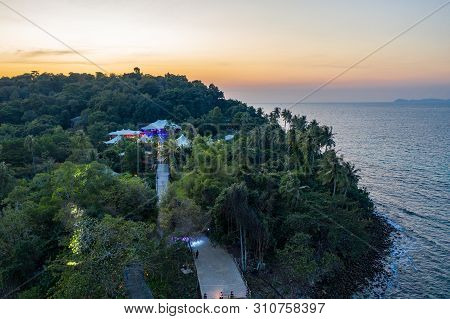 Drone Shot The Luxury But Eco Community Resort And Hotel On The Mountain In Kohkood Island At The Ea