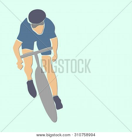 Single Male Bicyclist On Bicycle. Vector Cycling Illustration. Applique Or Paper Cut Style.
