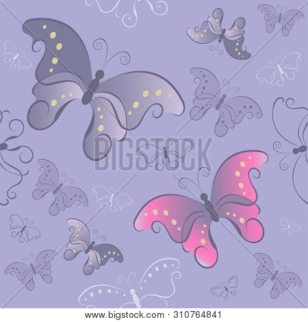 Purple Seamless Pattern With Butterflies On Gray Background