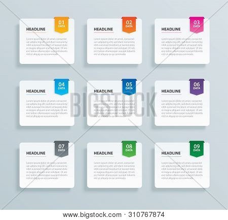 Infographics Tab Paper Index With 9 Data Template. Vector Illustration Abstract Background. Can Be U