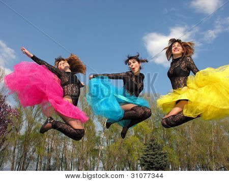 Three Cheerful Showgirl Outdoors