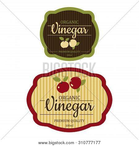 Set Vintage Apple Cider Vinegar Label Frame Design For Stickers And Other Design, Banners . Vector I