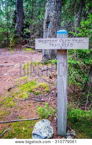 Acadia National Park, Me, Usa - August 12, 2018: The Western Head Trail Trailhead