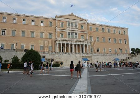 Athens, Greece:may 1, 2019 -  Evzone Soldiers Are Standing Out Of The Outpost Holding A Rifle With P