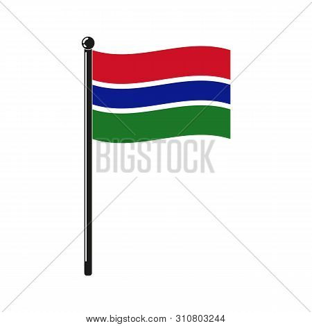 National Flag Of Gambia In The Original Colours And On The Stick