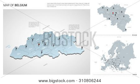 Vector Set Of Belgium Country.  Isometric 3d Map, Belgium Map, Europe Map - With Region, State Names