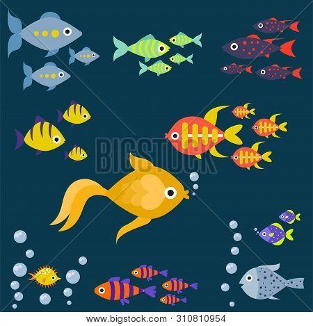 Aquarium Ocean Fish Underwater Bowl Tropical Aquatic Animals Water Nature Pet Characters Illustratio