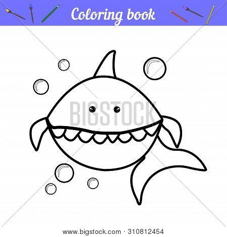 Baby Shark And Bubbles. Page For Coloring. Simple Coloring For Preschoolers. Thick Outline. Cartoon