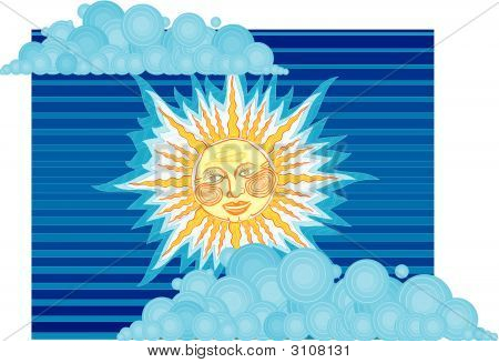 "Vector Illustration ""Sun"" Illustrator Slavic Style Corel Draw poster"
