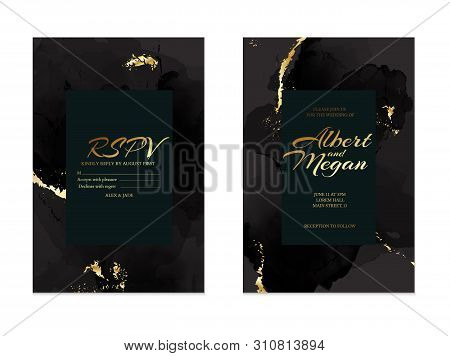 Black Gold Save The Date Rsvp  Card. Wedding Invitation Lettering With Alcohol Ink Splas. Liquid Flo