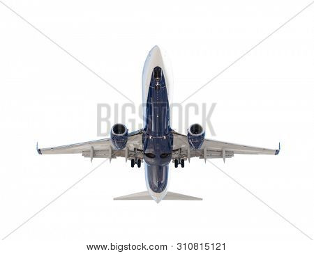 Bottom of Passenger Airplane Isolated on a White Background.