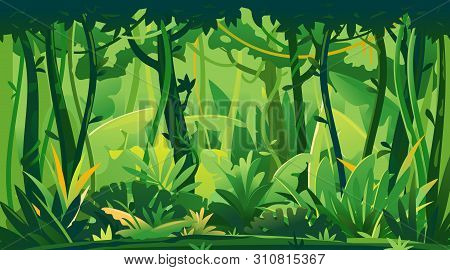 Wild Jungle Forest With Trees, Bushes And Lianas, Nature Landscape With Green Jungle Foliage And Exo