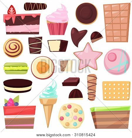 Confectionery Sweets Chocolate Candies And Sweet Confection Dessert In Candyshop Illustration Of Con