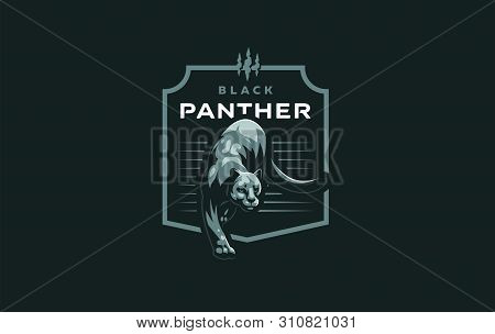 Wild Cat. Puma Or Panther In A Minimalist Style. Vector Illustration.