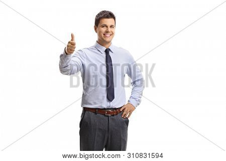 Cheerful white-collar male worker showing thumbs up isolated on white background