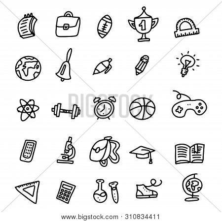 School Icons. Back To School. Hand Drawn Doodle Icon Set. Sketchy Vector Outline Cartoon Set Of Scho