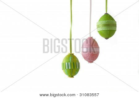 Decorated Easter Eggs On White Background With Copy Space For Text