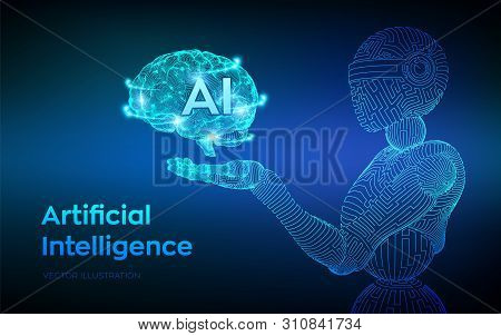 Ai. Artificial Intelligence. Ai In The Form Of Cyborg Or Bot. Wireframe Robot. Digital Brain. Brain