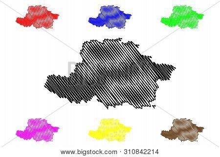 Arad County (administrative Divisions Of Romania, Vest Development Region) Map Vector Illustration,