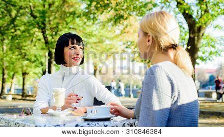 Trustful Communication. Girls Friends Drink Coffee And Enjoy Talk. True Friendship Friendly Close Re