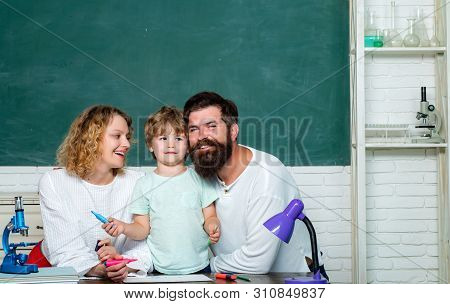 Parenting Education Mathematics Concept. Little Child School Boy In First Grade. Back To School And