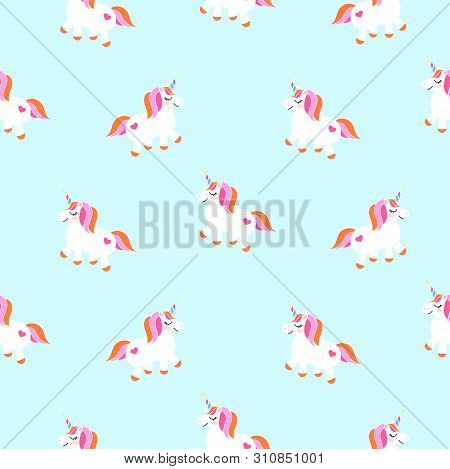 Cute Unicorns Sky Blue Seamless Pattern. Fairytale Pony Child Characters Light Vector Background. My