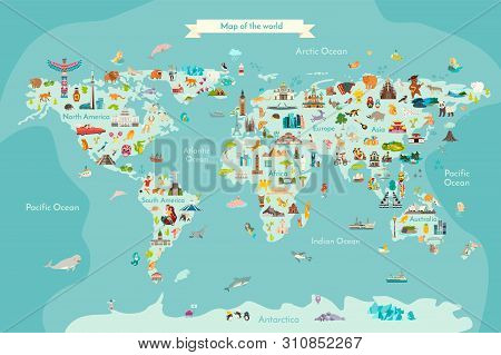 Landmarks world map vector cartoon illustration. World vector poster for children, cute illustrated