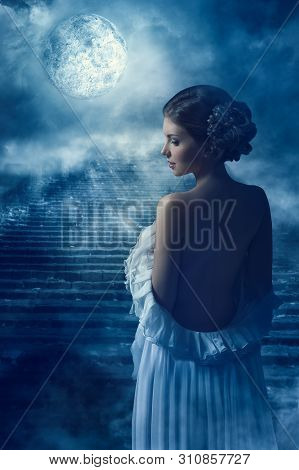 Fantasy Woman Back Rear View Portrait In Moon Light, Fairy Mystic Girl In Night Looking Over Shoulde