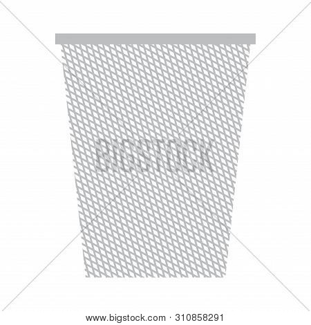 Isolated Trashcan Image Over A White Background - Vector