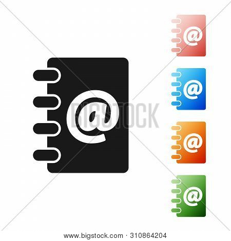 Black Address book icon isolated on white background. Notebook, address, contact, directory, phone, telephone book icon. Set icons colorful. Vector Illustration poster