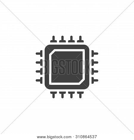 Microprocessor, Microchip Vector Icon. Cpu Processor Filled Flat Sign For Mobile Concept And Web Des