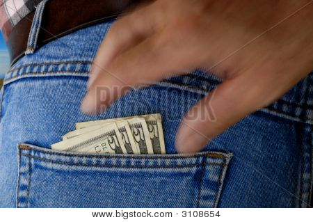 Pickpocket In Action - Dollar Bills.