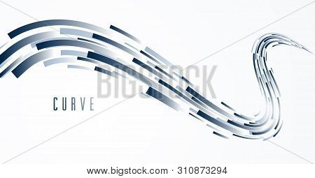 Abstract Lines Vector Background, 3d Dynamic Motion Stripes, Technology Or Science Theme Abstraction
