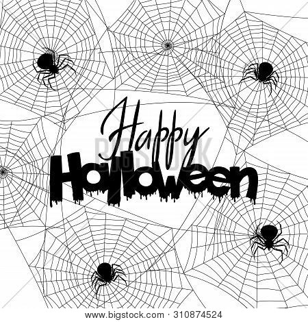 Background With Black Widow Spiders. Banner For Happy Halloween Holiday.