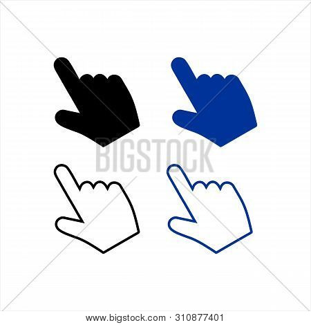 Hand Click Icon Vector Isolated White Background, Hand Click Icon Set, Vector Hand Cursors, Hand Cli