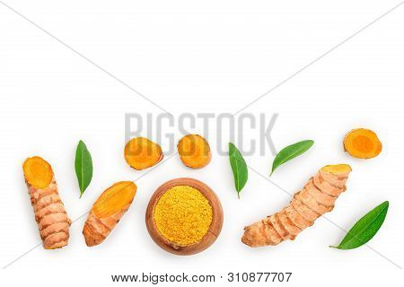 Turmeric Powder And Turmeric Root Isolated On White Background With Copy Space For Your Text. Top Vi