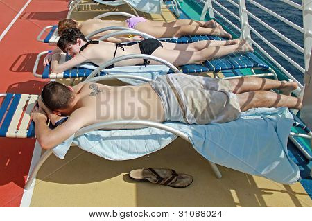 tanning on a cruise ship