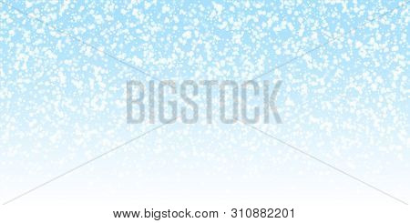 Beautiful Falling Snow Christmas Background. Subtle Flying Snow Flakes And Stars On Night Sky Backgr