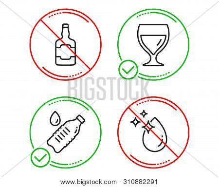 Do Or Stop. Whiskey Bottle, Water Bottle And Wine Glass Icons Simple Set. Water Drop Sign. Scotch Al