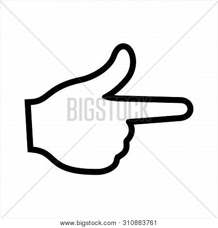 Hand Gesture Pointing To The Right Icon Isolated On White Background From Body Parts Collection. Han