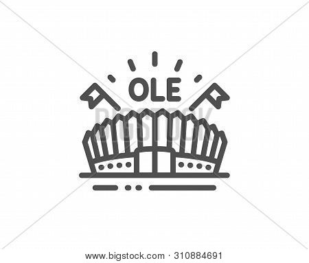 Sports Arena Line Icon. Stadium With Flags Sign. Sport Complex Symbol. Quality Design Element. Linea