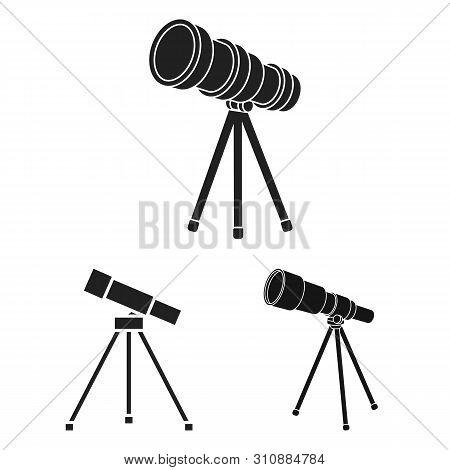 bitmap illustration of telescope and binoculars logo. Collection of telescope and history stock bitmap illustration. poster